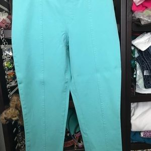 Isaac Mizrahi 24-7 Stretch Ankle Pant turquoise